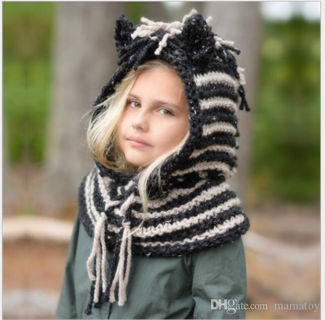 2019 Kids Winter Knitted Hat Scarf Sets Children Warm Hadmade Cotton Unicorn  Stripe Cap Girls And Boys Cartoon Animal Caps For 4 8T From Mamatoy b646c5d89de