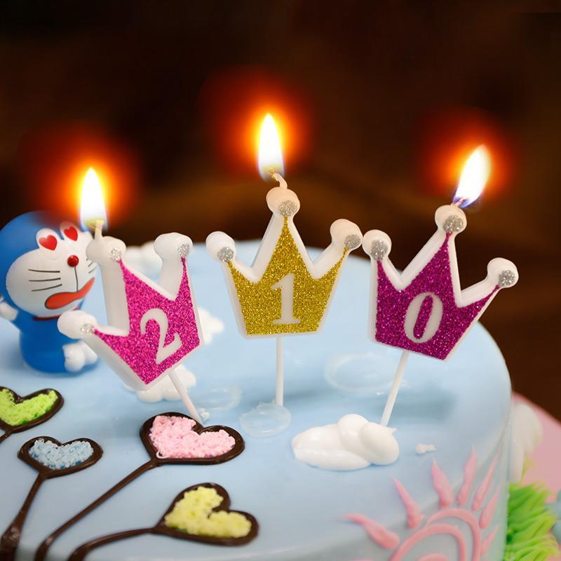 1pcs Glitter Birthday Cake Candle Rose Golden