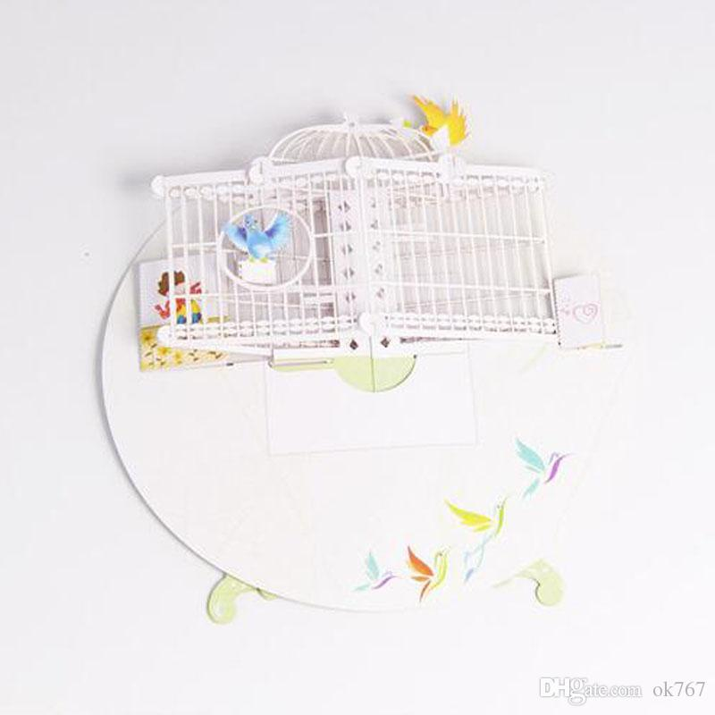 Toptan-3D Pop Up Tebrik Kartı Birdcage düğün Tebrik Kartları Doğum Günü Sevgililer Noel çocuk Günü hediye ücretsiz kargo