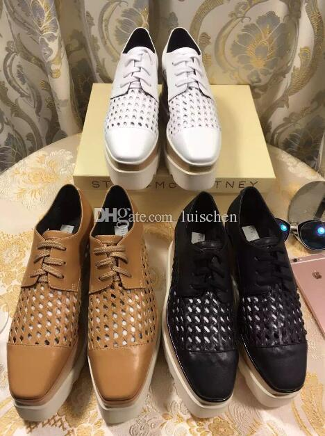 dc46d1a95c6b 2018 Summer NEW Stella Mccartney Shoes Calfskin Genuine Leather Weaving  Nets Wedge Platform Elyse Sneaker Casual Shoes For Men Women Shoes From  Luischen
