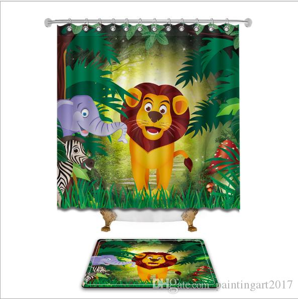 2018 Lovely Cartoon Lion Shower Curtains Polyester Waterproof Bathroom Curtain Bath With Hooks Floor Mats Sets From Paintingart2017