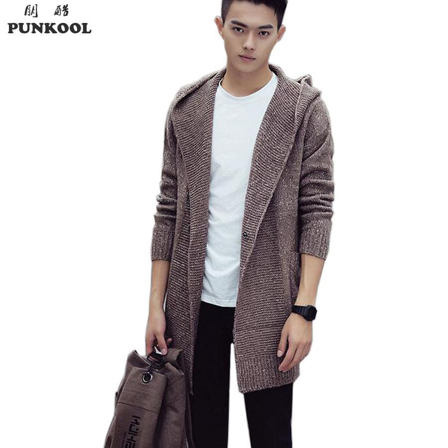a0ac884e4416 2019 PUNKOOL Sweater Men 2016 Long Hooded Cardigan Men Sweater Jacket Coats  Winter Warm Knitted Cardigans Pull Homme Plus Size Jersey From Hognyeni
