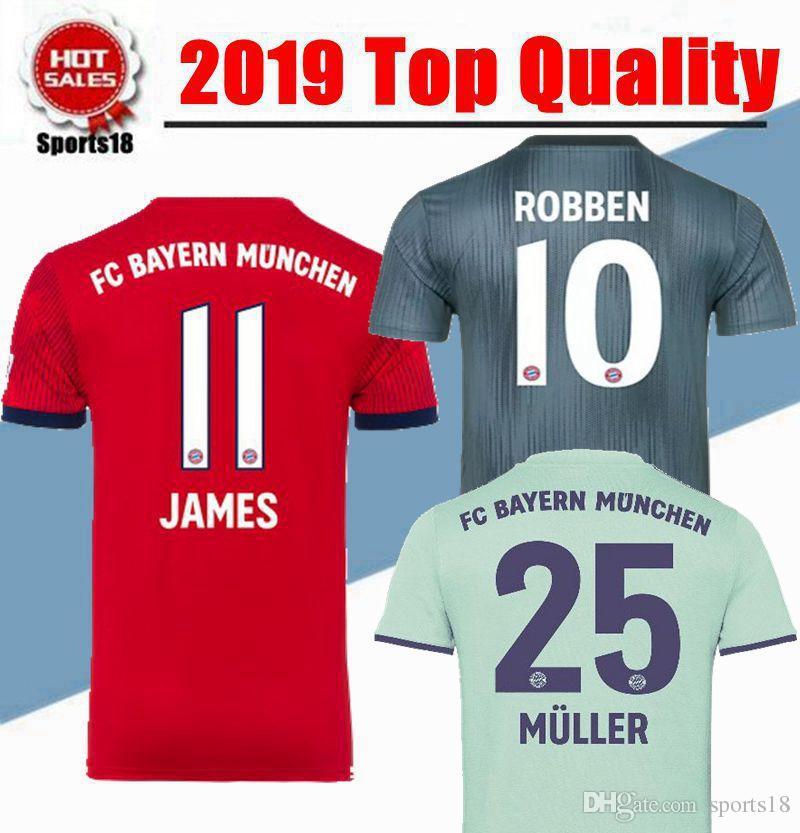 2018 2019 Bayern Munich James Vidal Ribery Gotze Sanches Lahm Casa Jerseys  De Visitante 18 19 Lewandowski Muller Robben Boateng Alaba Camiseta  Deportiva Por ... e0d09f9fad32f