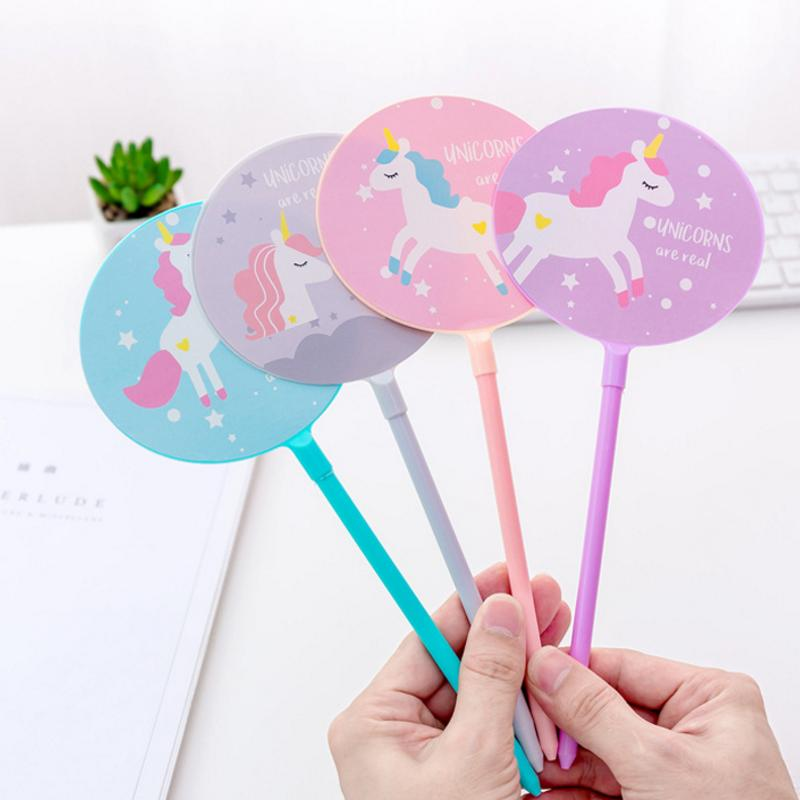 4 unids / set Creativo Kawaii Unicornio Fan Gel Bolígrafo Bolígrafo Pluma School Office Supply Estudiante Papelería Regalo de Los Niños 0.38mm Tinta Negro