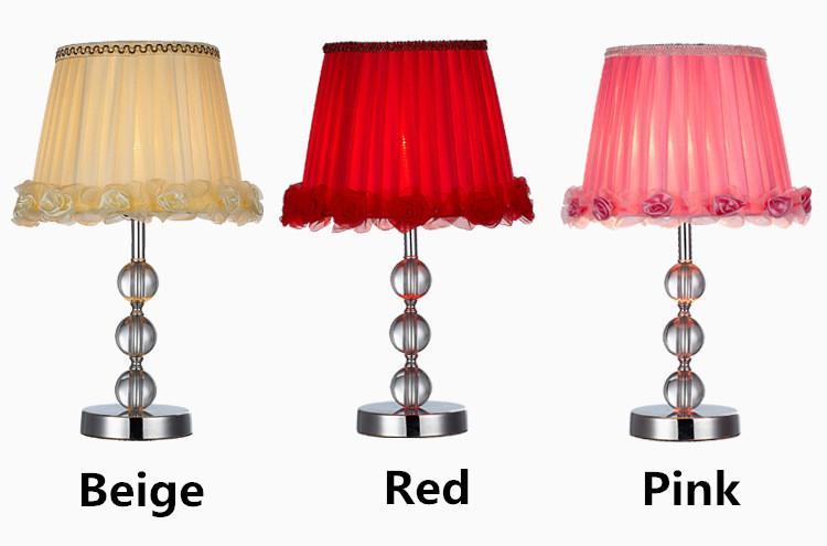 2019 Modern High Grade Crystal Lamp Shade Romantic Roses Side Table