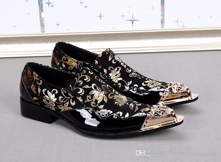 Preto Italiano Mens Mocassins de Couro genuíno Metálico Toe Mens Glitter Sapatos de Ouro Floral Imprimir Men Wedding dress Sapatos Homens de Luxo