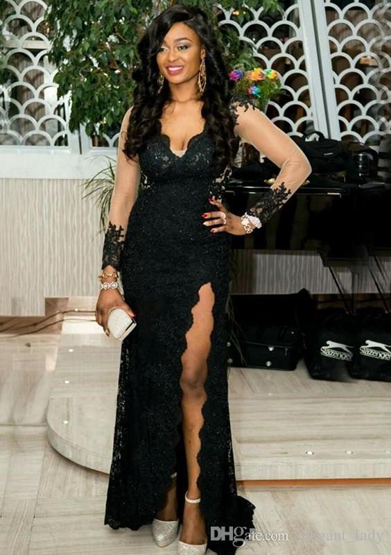 2018 negro con cuello en V tallas grandes vestidos de baile de ocasión especial con mangas largas ilusión del lado del cordón se separa con cuentas vestido de noche formal barato