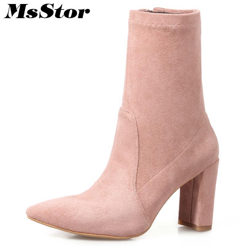 Großhandel Msstor Spitzschuh High Heel Damen Stiefel Fashion Schwarz Braun  Grau Rosa Stiefeletten Damen Schuhe Elegante Zipper Schuhe Frau Von  Mkfobia, ... 75fd8092e9