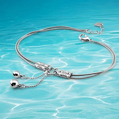New fashion jewelry bracelets for ladies & leg feet, small bell anklet retail. Double snake chain. Girls fashion gift