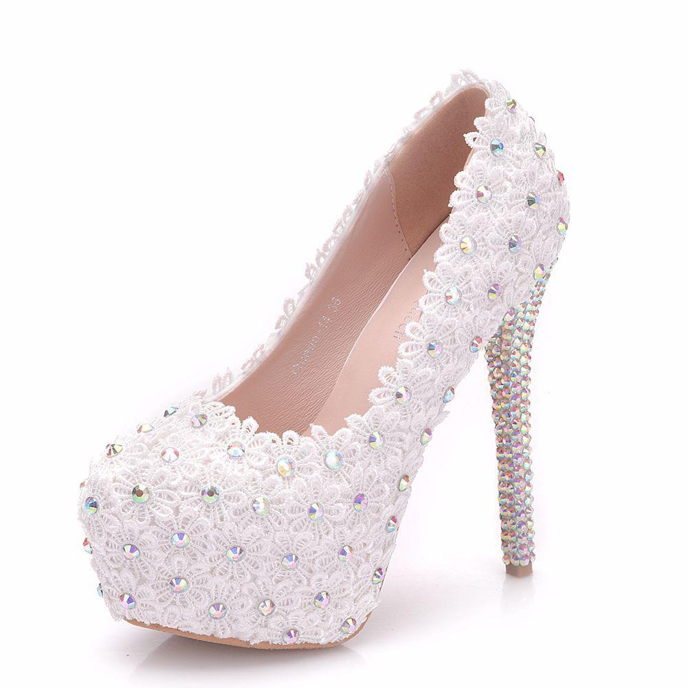 cf9bd5155db Women High Heels Platform Pumps Round Toe Luxury Lace White Wedding ...