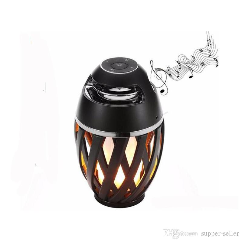 2018 hot flame LED light Portable speakers Outdoor waterproof wireless bluetooth Stereo HD Audio player for black Free DHL
