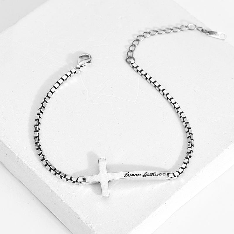 European Unisex design cross English letter engraving link chain bracelet retro style black technology men's bracelet jewelry