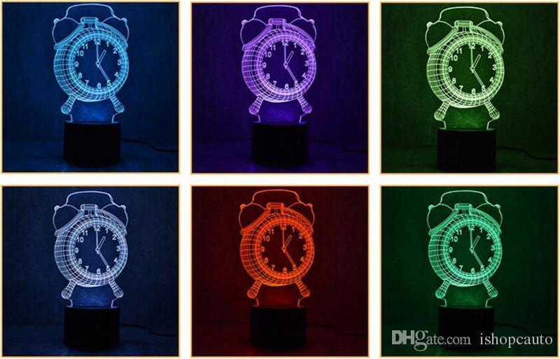 3D Çalar Saat Şekli Bluetooth Hoparlör Led Gece Işık Yenilik Müzik Masa Lambası Yaratıcı 7 Renk Değişim Dekorasyon Gece Lambası