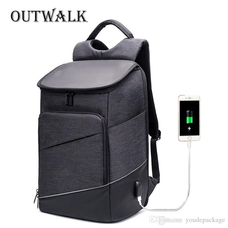 7011b06064f3 OUTWALK New Men 15.6 Laptop Backpack Anti Theft Backpack USB Charging Women  School Notebook Bag Oxford Waterproof Travel Bagpack Canvas Backpack Women  ...