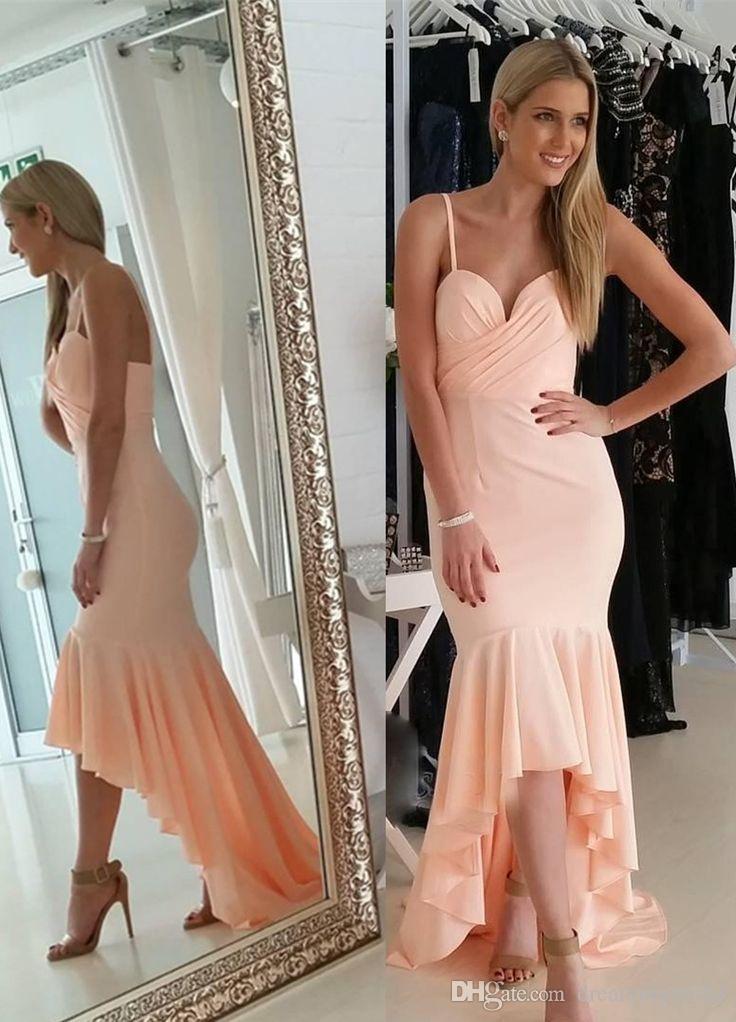 Pink High Low Mermaid Prom Dresses 2018 New Spaghetti cinghie senza maniche Sweetheart increspato abiti da sera formale Party Dress abito da damigella d'onore