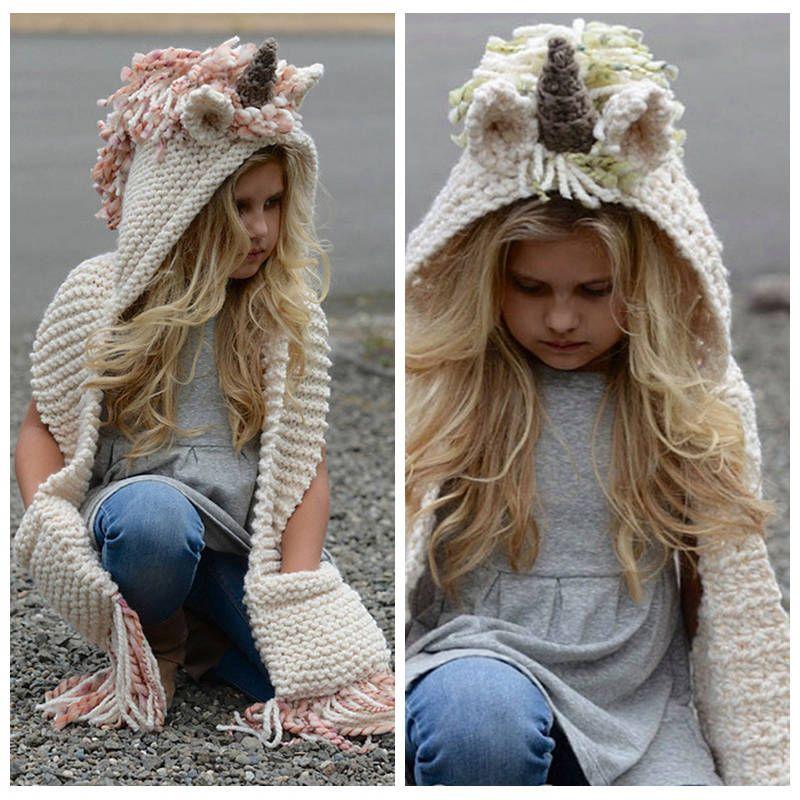 Kids Unicorn Scarf Cap 2 in 1 Children Infant Warm Knitted Hats Warmer  Winter Beanie Hat Tassels Cape Cap Christmas Gift Unicorn Scarf Unicorn Caps  Scarf ... 48bdfc3f7198