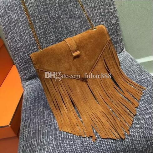 ! Hight quality quality nubuck leather women shoulder bag Genuine Leather tassel bag tote