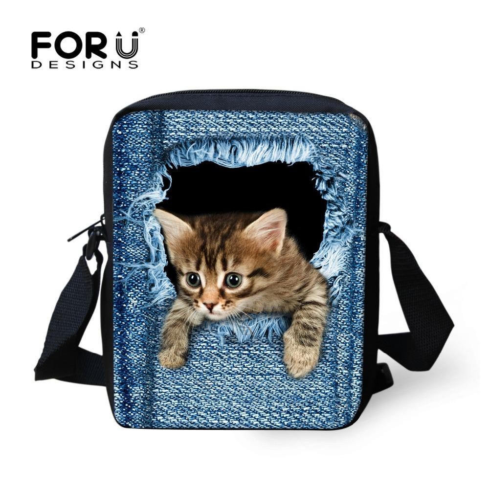 ef7f11175480 FORUDESIGNS Hot Women Messenger Bags Cute Animal Denim Pet Cat Dog Crossbody  Bag Casual Small Travel Shoulder Bags Ladies Bolsas Purses On Sale Men Bags  ...