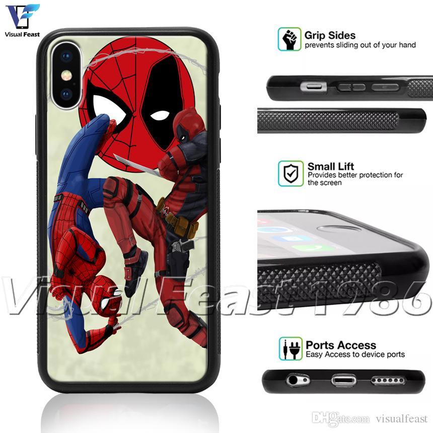size 40 b431d f435b Spider-Man Deadpool Avengers Superhero Comics Phone Case for iPhone X  8/7/6/6s Plus 5s 5 SE Phone Cover Free Gift