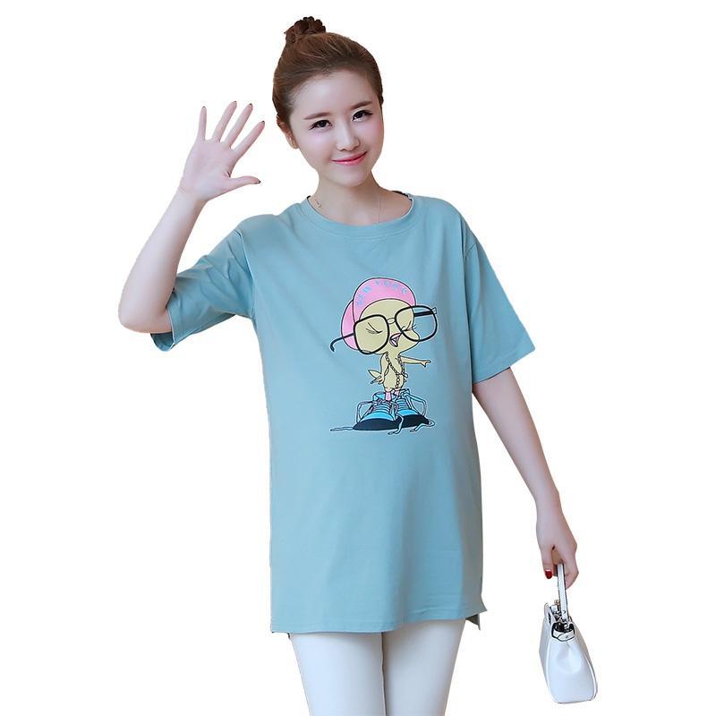 457f8e49e6dba Pregnant women T-shirt Short-sleeved Korean version of the long-sleeved  print jacket loose maternity dress summer casual shirt
