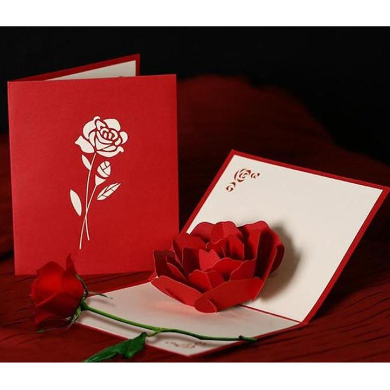 Romantic Rose 3D Pop Up Greeting Card Stereoscopic ValentineS Day Gift Couple Peony Cherry Birthday Wedding Invitation Free Online Cards