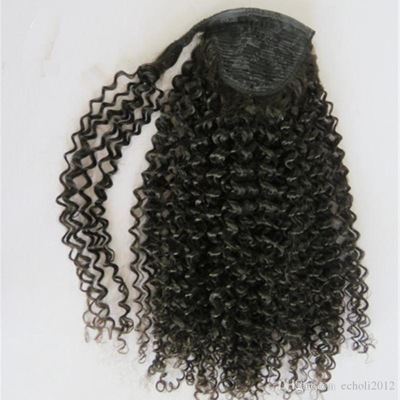 New Hair ponytail kinky curly afro Ponytail hairpieces real Human Hair drawstring Pony tail Hair pieces 160g natural black 1b color