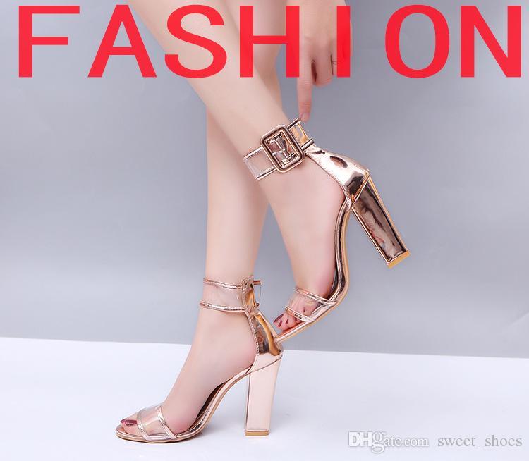 d621b9f0a41163 Acheter 2018 Nouveau Style Femme Sandales Or Métallique Sangle Transparente  Talons Hauts De Mode Transparent D'été Chaussures Femmes Pompe Plus La  Taille 34 ...