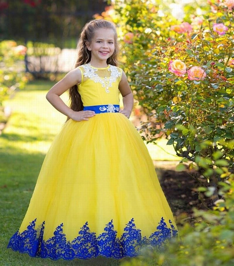 aff92510ccfea Pageant Kids Gown Yellow Tulle Blue Lace Flower Girl Dresses For Wedding  Princess Girl s Floor Length Child Party Birthday Dress xk65