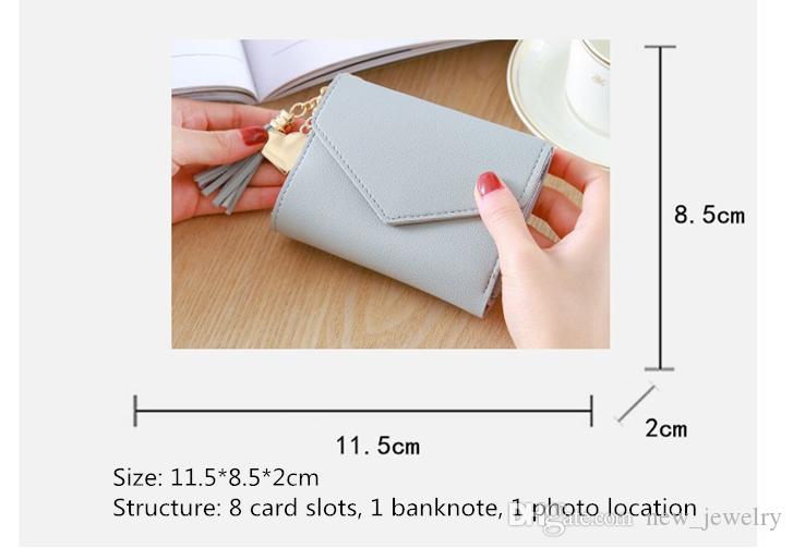 شرابة قلادة 3-layer بطاقة محفظة جلد طبيعي المرأة قصيرة محفظة سحاب محفظة قصيرة حقيبة 5 ألوان لفتاة سيدة لطيفة هدية المال كليب