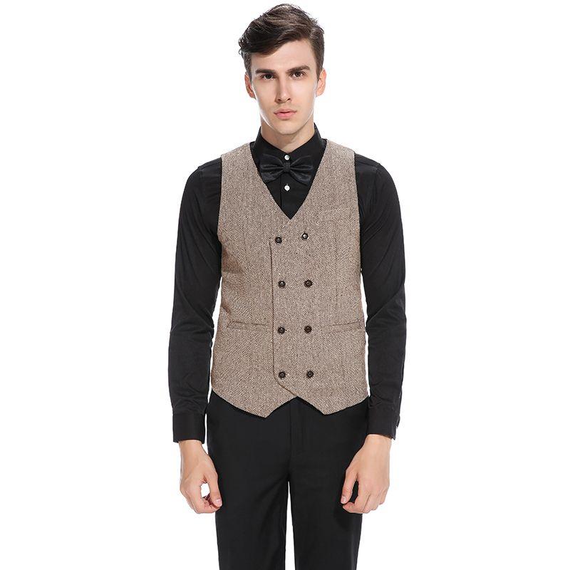 Grosshandel Klassische Vintage Weste Manner Zweireiher British Style