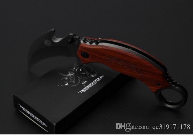 Silber NEU Karambit X62 Klappmesser 3cr13MOV Klinge Stahl Holzgriff 57HRC grau Titanoberfläche schwarz Geschenkbox Verpackungsklaue EDC-Werkzeug