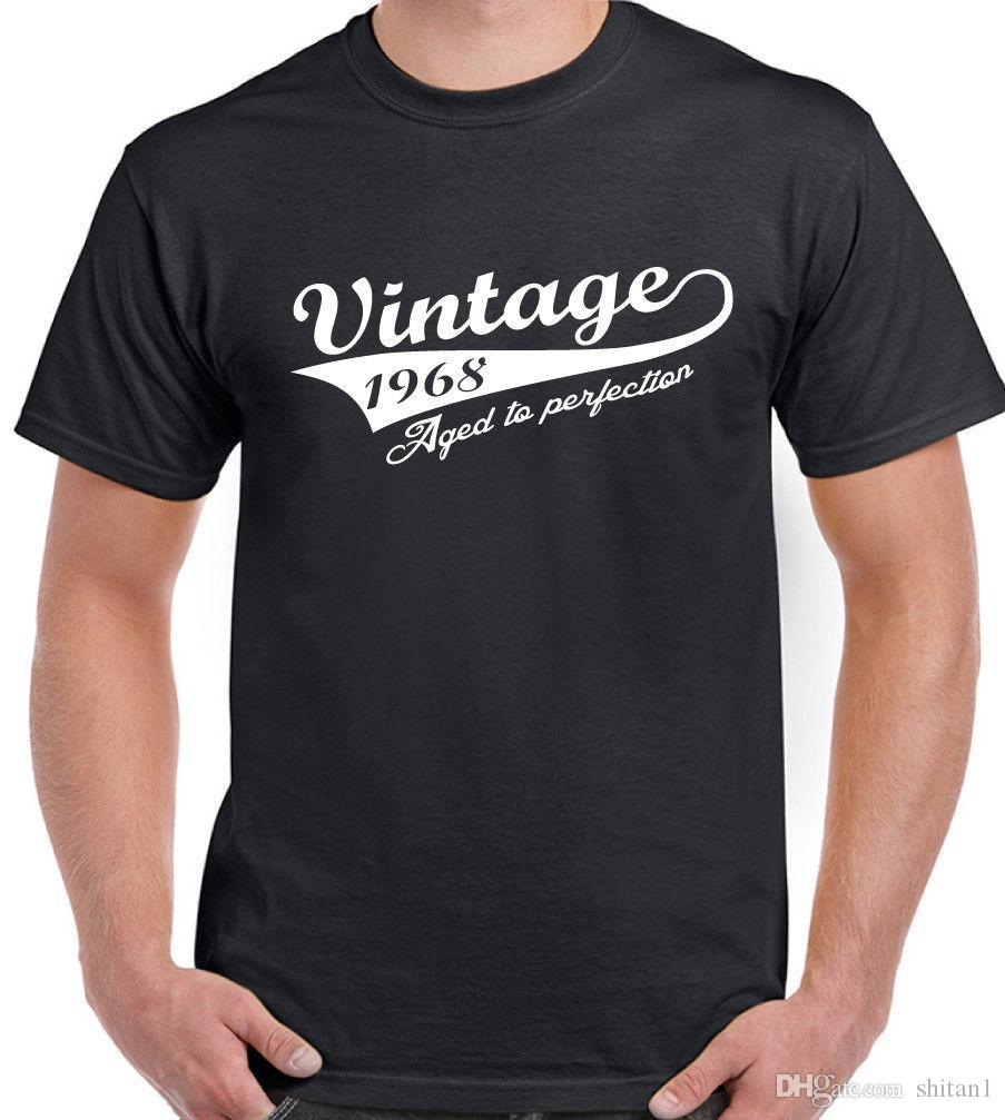 Vintage Year 1968 Mens Funny 50th Birthday T Shirt 50 Old Gift Present Top Summer Style Fashion Men Shirts Tee