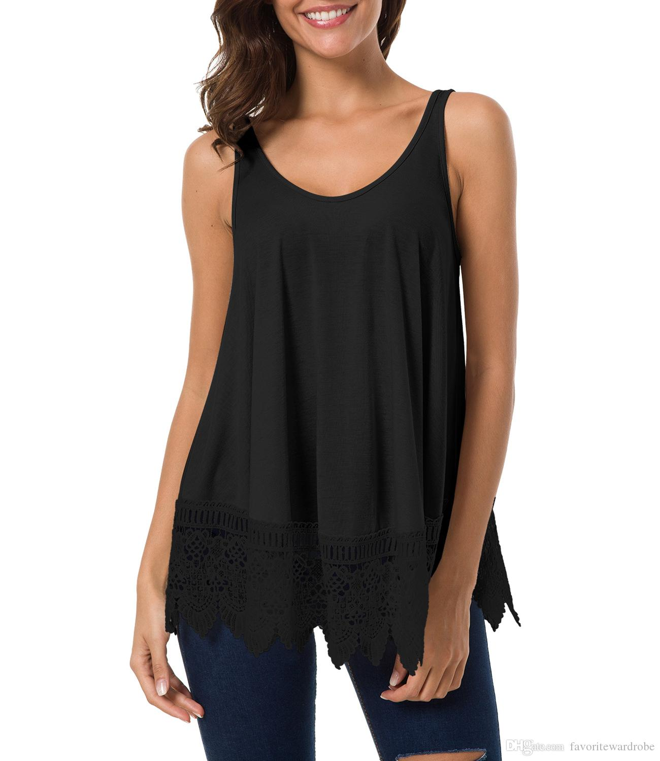 08847cc0171f0b 2019 Women S Casual Basic Lace Extender Tank Top Bottom Hem Vest Available  In US Stock From Favoritewardrobe