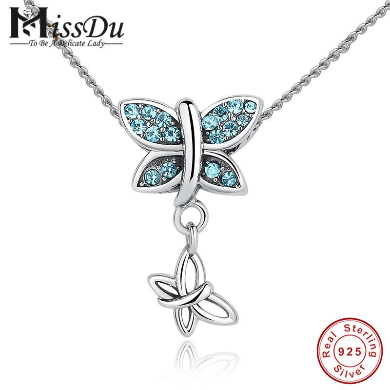 8cff3174b MissDu New Fashion 925 Sterling Silver Blue Crystals Butterfly ...