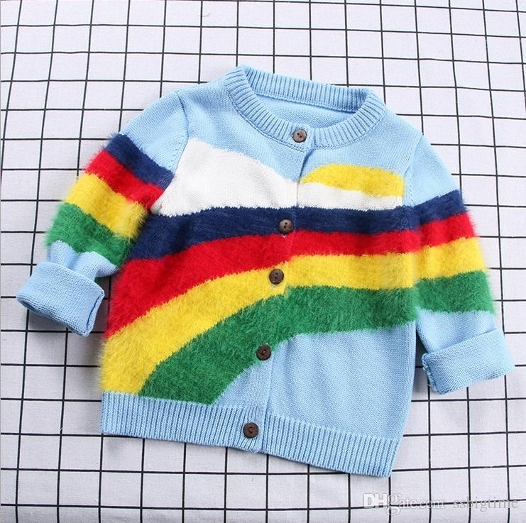 Cotton Boys Girls Childrens Knit Sweaters Clothing Rainbow Pullover