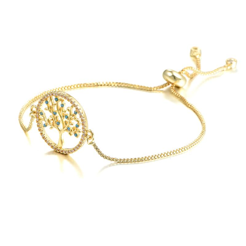 Bohemia Style Fancy Tree Of Life Design Bracelet Charm Adjustable Rhinestone Link Chain For Women Girls Hand Jewelry Accessories Gift
