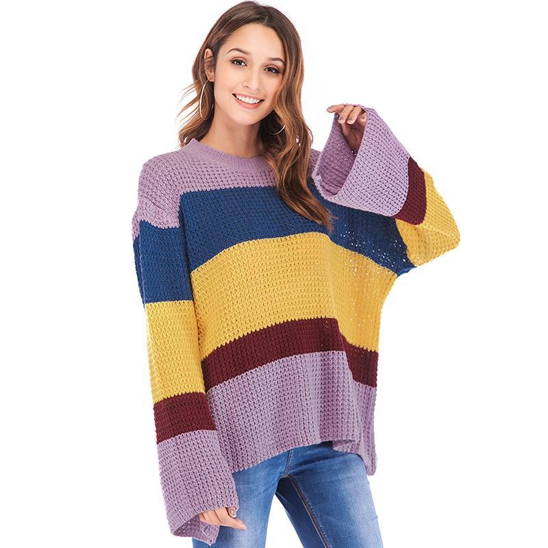 bd651e54d3cf Winter Women Oversized Knitted Sweater Boho Striped O Neck Drop ...