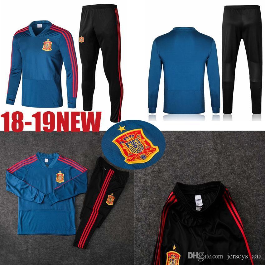 406e006d477cd Compre AAA ++ 18 España Chaqueta De Fútbol Traje De Entrenamiento De Fútbol  Largo Kit Chándal Ropa Deportiva Conjunto Chandal Personalizado Inicio Rojo  ...