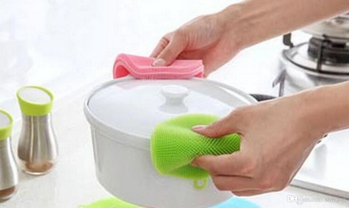 Magic Silicone Dish Bowl Cleaning Brushes Scouring Pad Pot Pan Wash Brushes Cleaner Kitchen Accessories Dish Washing Brush
