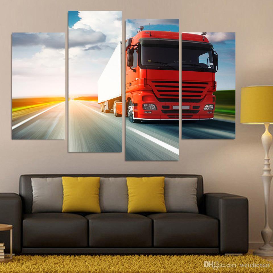 Duvar Resim İçin Salon Wall Art Boyama Boyama Kırmızı Kamyon Poster Van Tuval Boyama 4 Adet Tuval Sanat Tuval