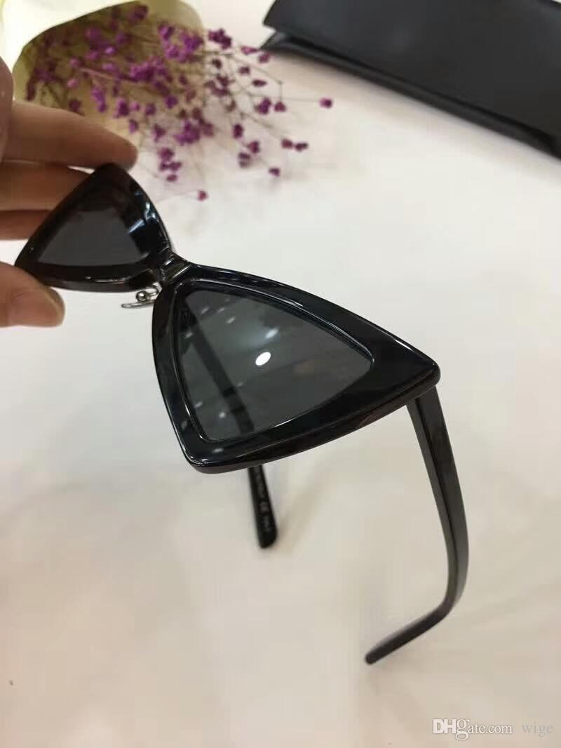 Женщины sl207 Джерри черный треугольник cateye солнцезащитные очки дизайнер солнцезащитные очки Очки вождения очки Мода новый в коробке