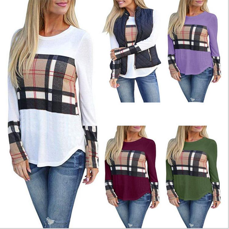 c89c610d7f8 Women Plaid T Shirt Patchwork Pullover Hoodies Autumn Winter Sweatshirts  Blouses Oversize Shirt Casual Sports Tops Fall Base Layers NEW Ridiculous T  Shirts ...