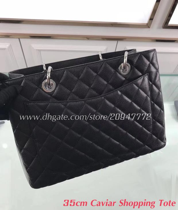 883a7b7de8 Women s XLarge Shopping Tote Black Genuine Caviar Leather Shoulder ...