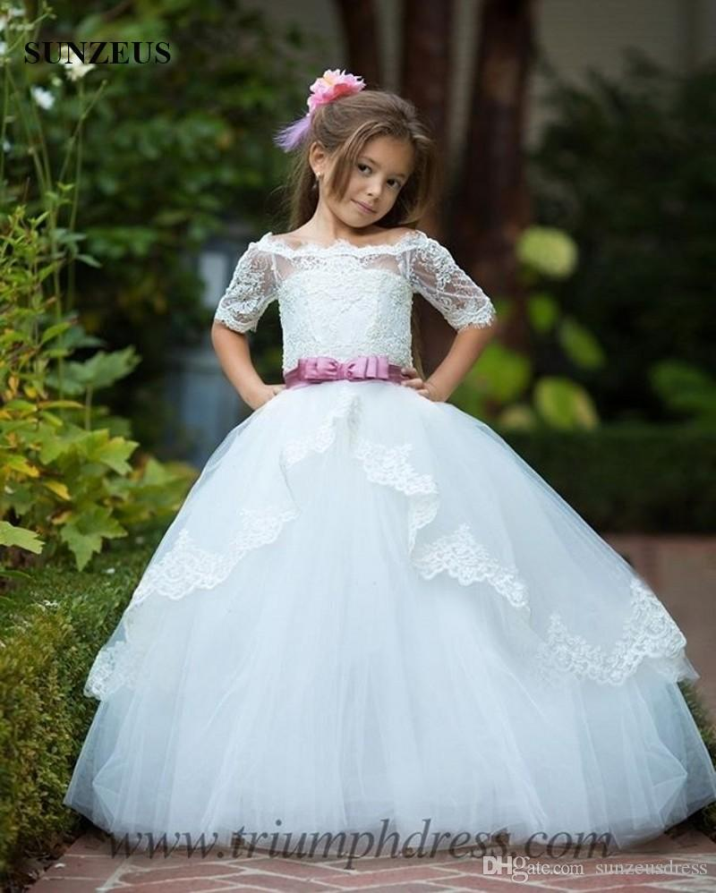 e4b03564b6 Boat Neck Off Shoulder Lace Half Sleeve Flower Girl Dresses 2018 New  Appliques Children Party Gowns For Weddings With Pink Bow Sash Polka Dot Flower  Girl ...