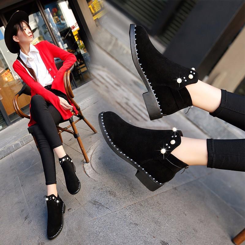 621522adf Compre Masorini Mujeres Flock Crystal Botas De Tacón Bajo De Lujo Mujer  Costura Sólido Zapatos Nueva 2018 Moda Tobillo Botas De Invierno Para Niñas  W 069 A ...
