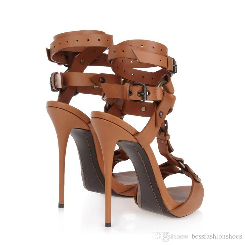 Sandalias de tacón de aguja gladiador negro Punta abierta Tobillo Strappy Sandalias de fiesta Marrón Zapatos de tacón alto delgados Mujer Zapatos Mujer Zapatos