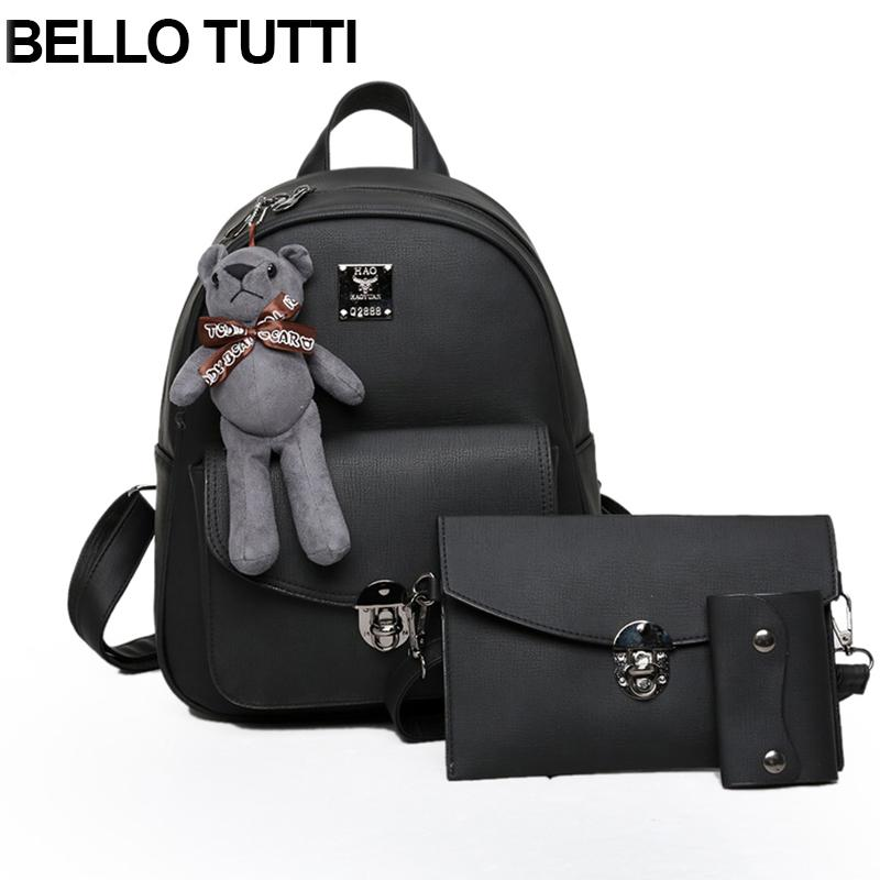 BELLO TUTTI Women PU Leather Backpack Girls Shcool Bags Fashion Backpacks  Shoulder Bag Purse With Bear Decorated Set Rolling Backpacks Backpacks For  Men ... 0ae0a2f34bc9e