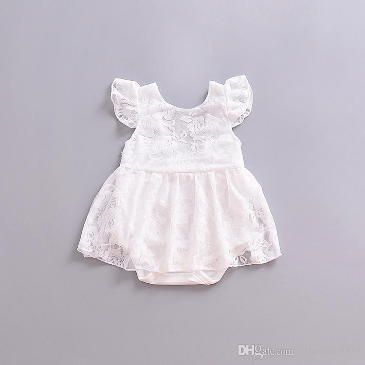 2019 süße sommer baby mädchen spitze strampler weißes kleid kleinkind kleidung weiche weiße spitze backless schwester kleidung großhandel