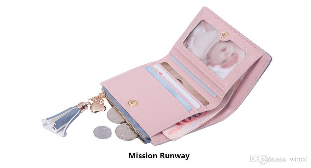 Women's Fashion Cute Embossed PU Leather Wallet Tassel Zippers Purse with Coin Pocket for Girls Ladies 2018051419