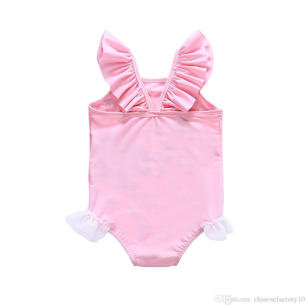 2018 Girls Unicorn Swimwear One-piece Swimsuit Beach Lace Bikini Kids Summer Cartoon Cute Infant Bathing Suits Pink Ins